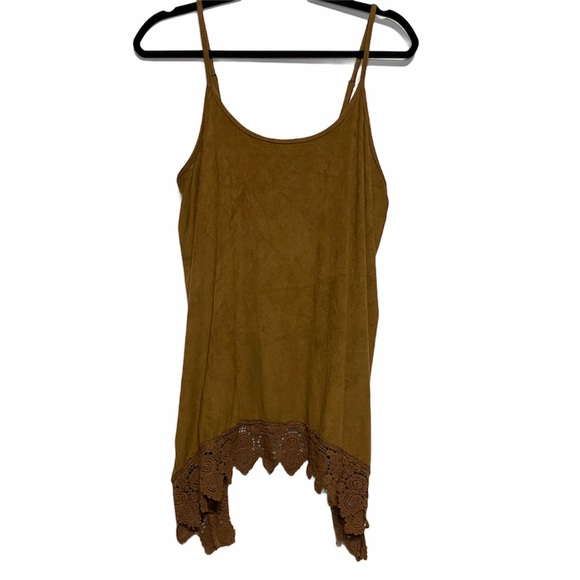 Maurices Brown Suede Tank with Lace Hem